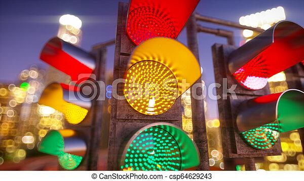 Traffic light in modern city - csp64629243