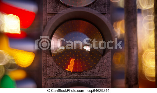 Traffic light in modern city - csp64629244