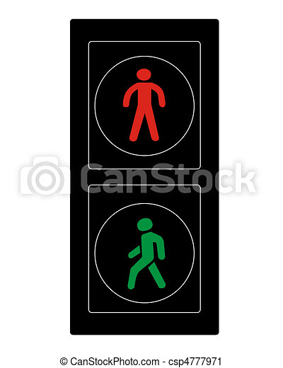 Traffic light of pedestrians on a white background vector ...