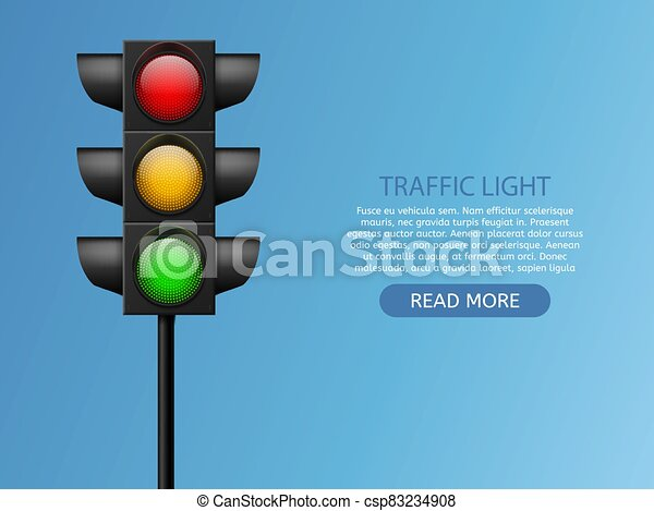 traffic light. realistic led lights red, yellow and green, crosswalk  safety, control accidents, signals street regulation | canstock  can stock photo