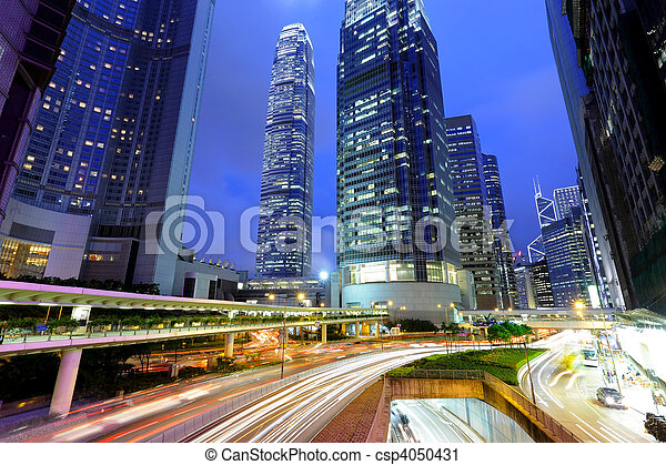 traffic light stream and highrise bulidings - csp4050431