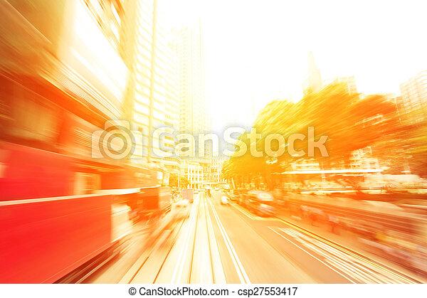 traffic light trails of modern business city - csp27553417