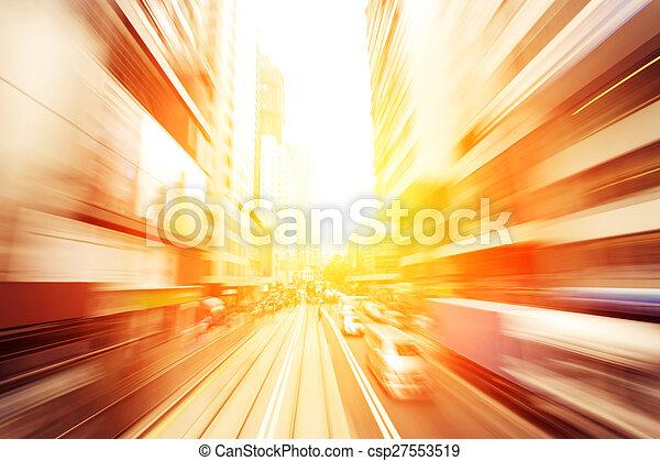 traffic light trails of modern business city - csp27553519
