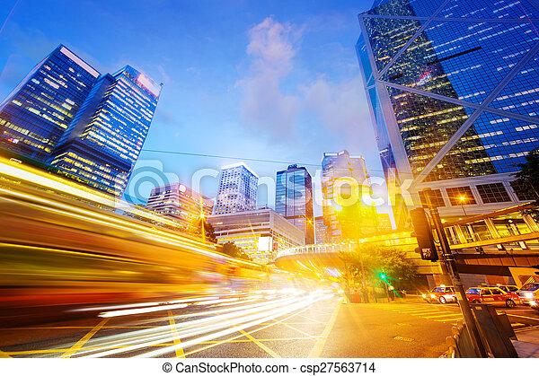traffic light trails of modern business city - csp27563714