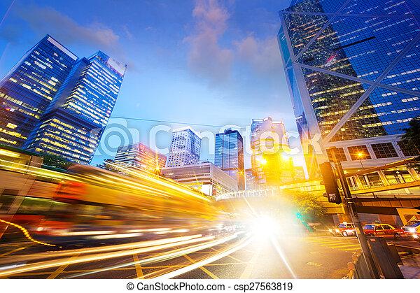 traffic light trails of modern business city - csp27563819