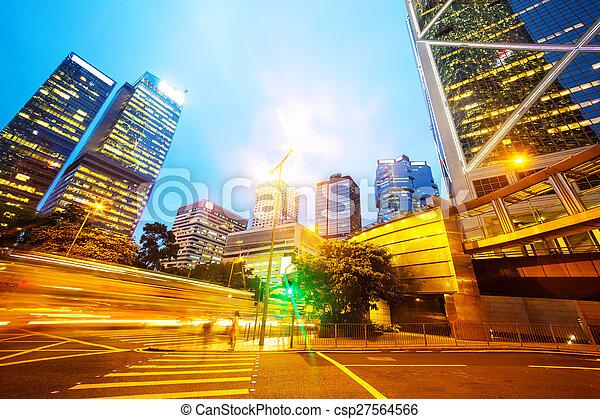 traffic light trails of modern business city - csp27564566