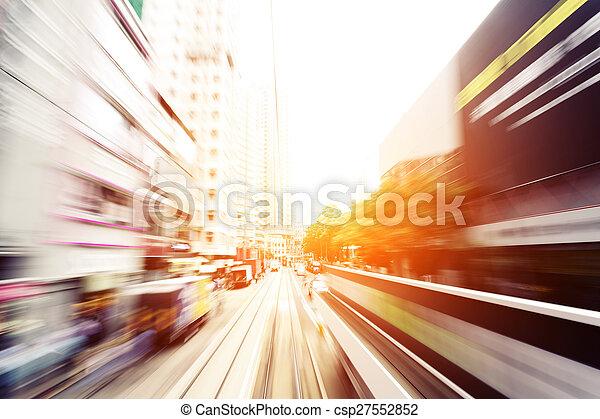 traffic light trails of modern business city - csp27552852