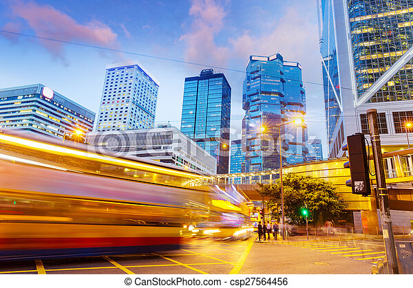 traffic light trails of modern business city - csp27564456