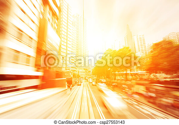 traffic light trails of modern business city - csp27553143