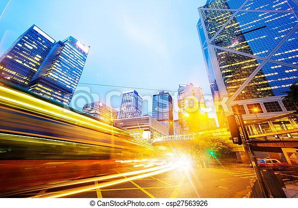 traffic light trails of modern business city - csp27563926