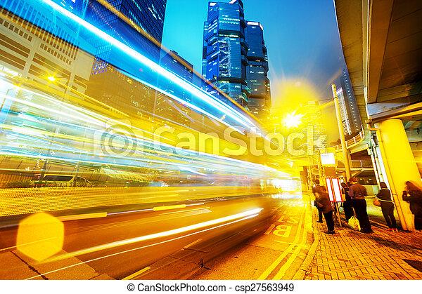 traffic light trails of modern business city - csp27563949
