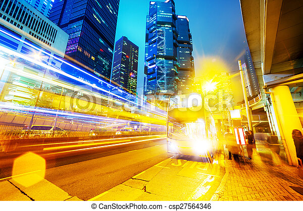 traffic light trails of modern business city - csp27564346