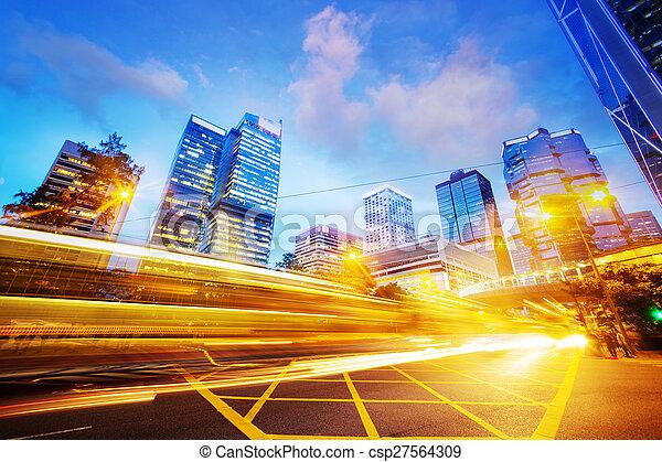 traffic light trails of modern business city - csp27564309