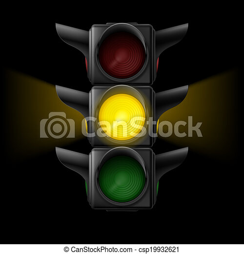 Traffic light with yellow on  - csp19932621