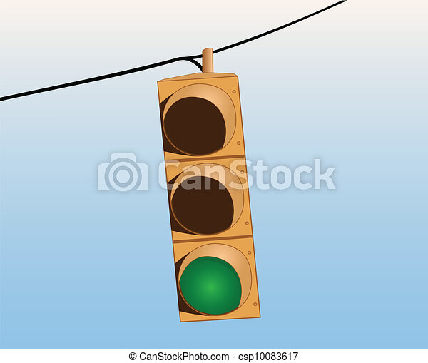 Traffic lights on the wire green - csp10083617