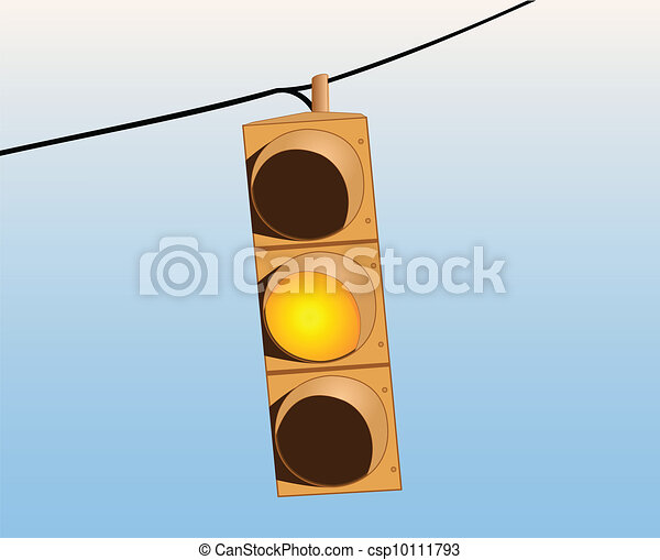 Traffic lights on the wire yellow - csp10111793