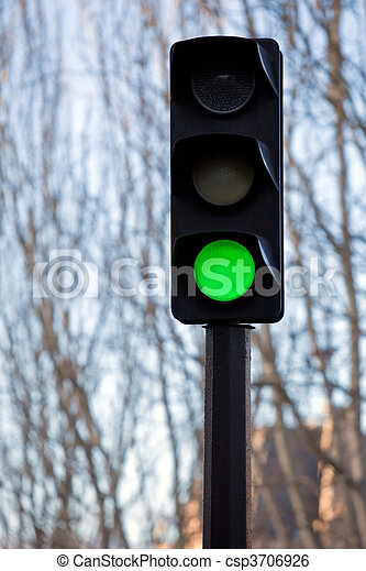 Traffic lights with green lit - csp3706926