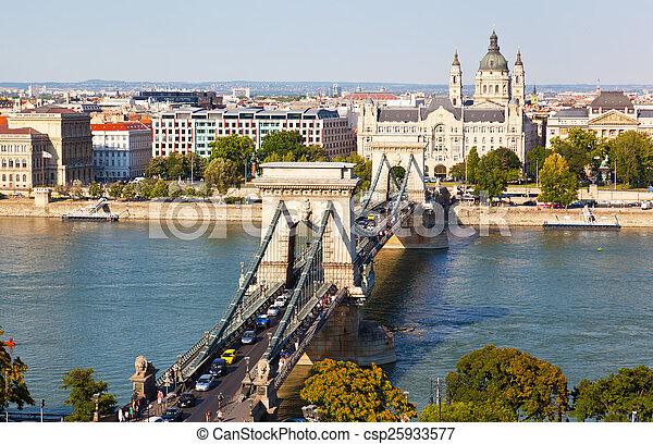 Traffic on Szechenyi Chain Bridge in Budapest, Hungary - csp25933577