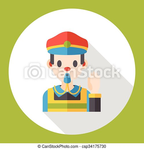 Traffic police flat icon vectors - Search Clip Art, Illustration ...