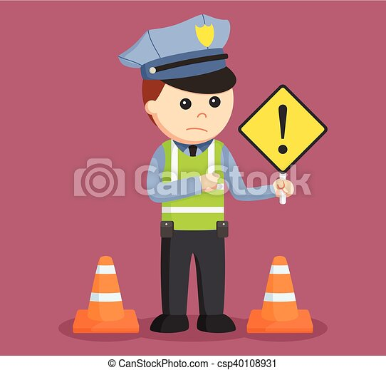 Traffic police with danger sign.