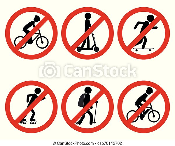 Traffic prohibition sign for various sports - csp70142702