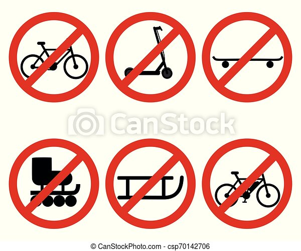 Traffic prohibition sign for various sports - csp70142706