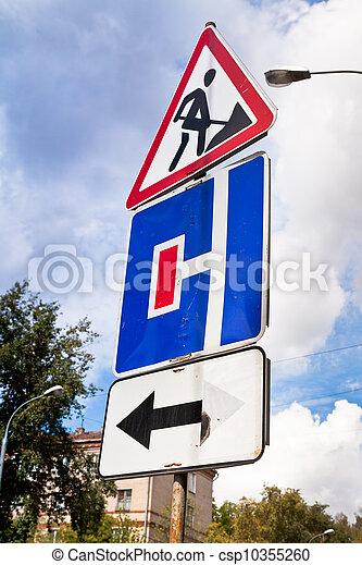 traffic sign in road repair area - csp10355260