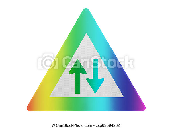 traffic sign isolated two way isolated and rainbow