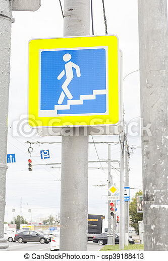 Traffic sign pedestrian crossing on street - csp39188413