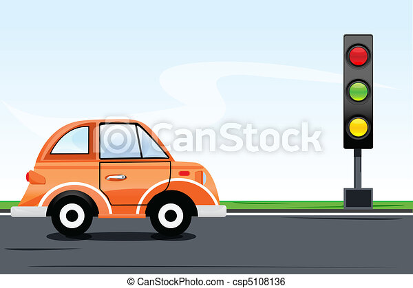 Traffic Signal With Car On Road Vector