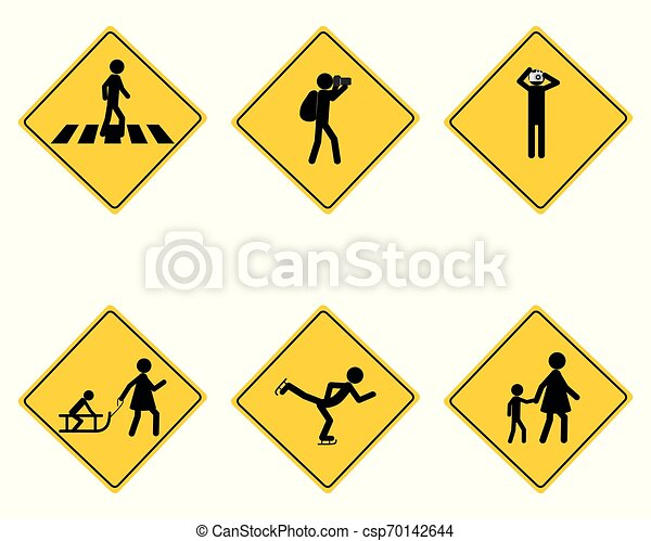 Traffic warning sign for various sports - csp70142644