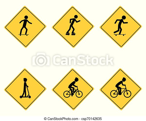 Traffic warning sign for various sports - csp70142635