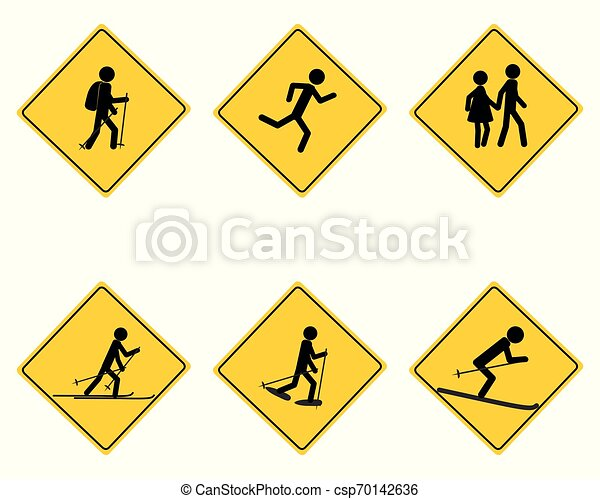 Traffic warning sign for various sports - csp70142636