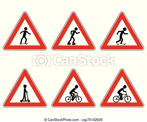 Traffic warning sign for various sports - csp70142639