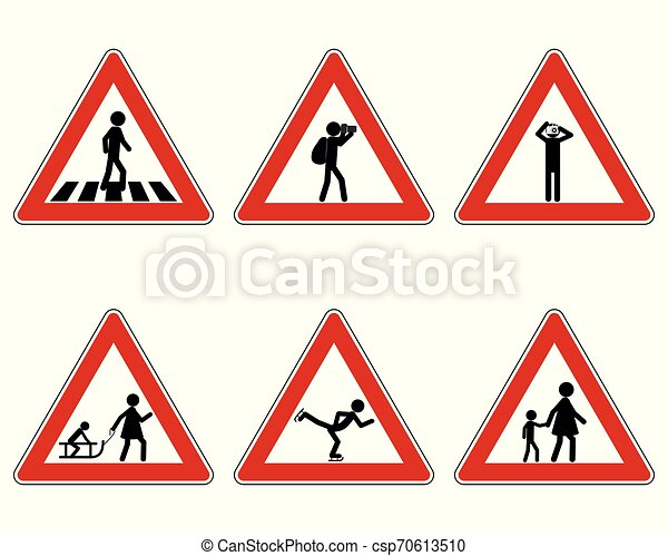 Traffic warning sign for various sports - csp70613510