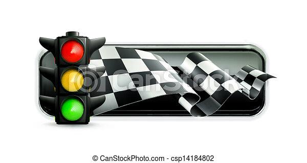 trafic, courses, bannière, lumières - csp14184802