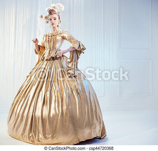 Tragen, adlig, frau, kleid, goldenes, viktorianische ,... Stockbild ...