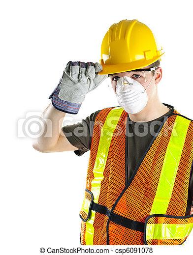 tragen, arbeiter, baugewerbe, sicherheitseinrichtungen - csp6091078