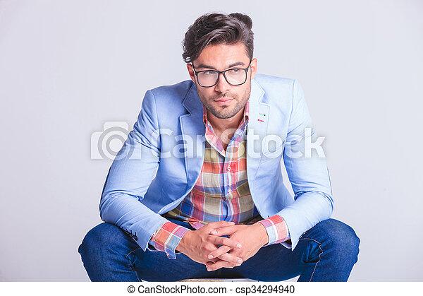 tragen, attraktive, schließen, porträt, mann, beiläufig, brille - csp34294940