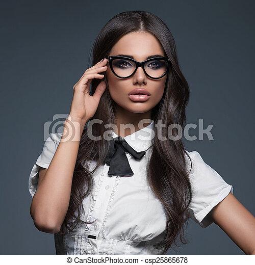 Schnelle Lieferung beliebt kaufen besserer Preis tragen, elegant, frau, brille, geschaeftswelt
