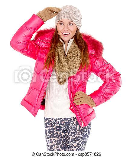 tragen, frau, wintermütze, junger, jacke, schal - csp8571826
