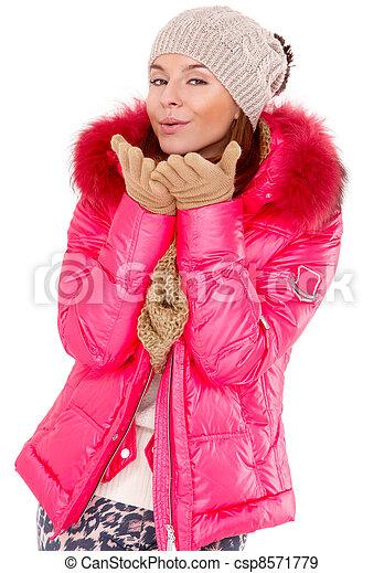 tragen, frau, wintermütze, junger, jacke, schal - csp8571779