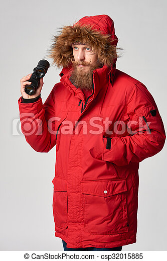 Jacken mit rotem pelz