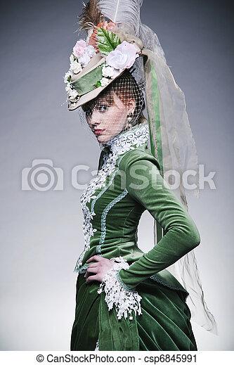 tragen, reizend, dame, retro, kleidung - csp6845991