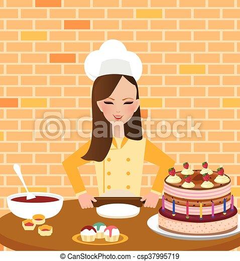 Tragen Schuerze Frau Backen Kochen Madels Kuchenchef Kuchen