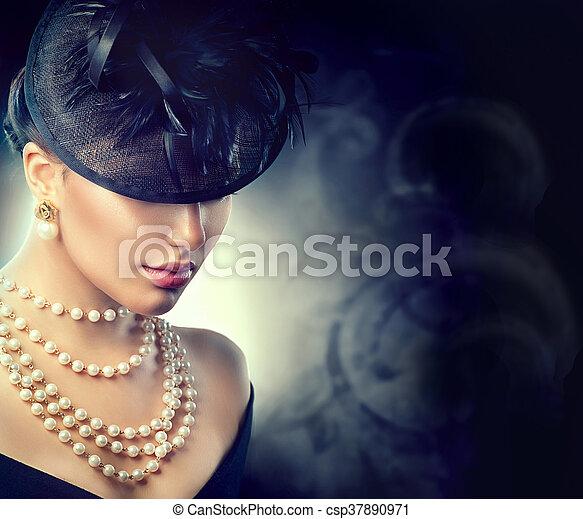 tragen, stil, frau, altes , weinlese, portrait., retro, gestaltet, m�dchen, hut - csp37890971