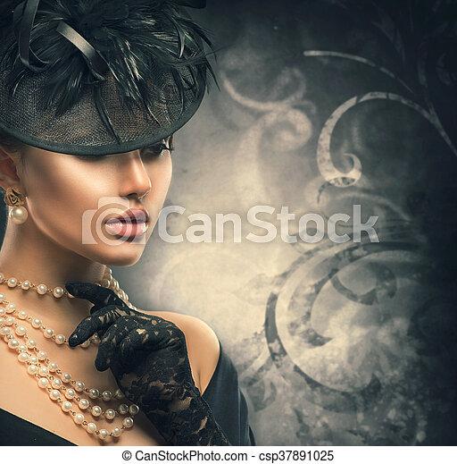 tragen, stil, frau, altes , weinlese, portrait., retro, gestaltet, m�dchen, hut - csp37891025