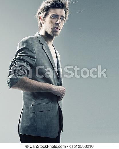 tragen, stilvoll, kerl, jacke, klug - csp12508210