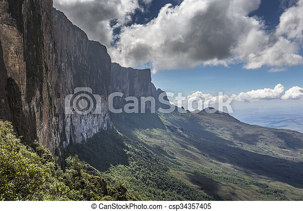 Trail down from the plateau Roraima passes under a falls - csp34357405