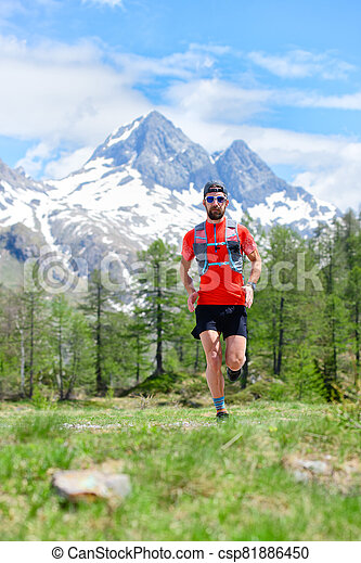 Trail running runner in the mountains - csp81886450